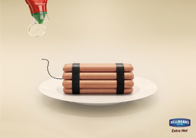 Hellmanns-creative-display-ad-using-imagery-and-hotdogs-in-the-shape-of-a-bomb-as-their-advertising-imagery-strategy