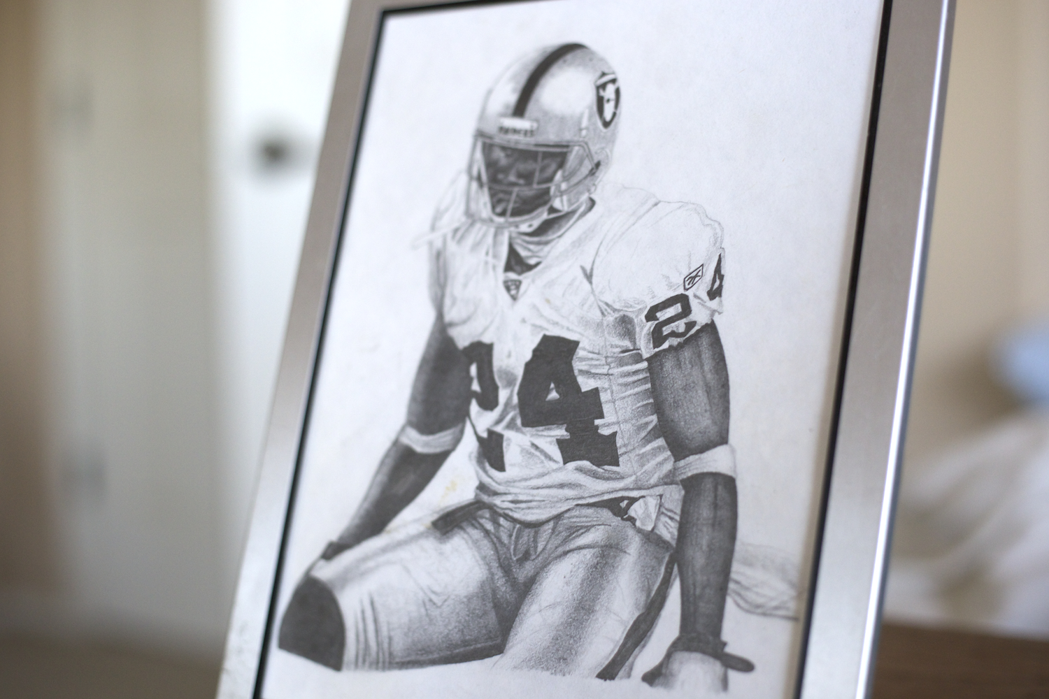 freehand-art-pencil-drawing-of-charles-woodsons-rookie-season-with-the-oakland-raiders-professional-sketching-services-for-sale-nfl