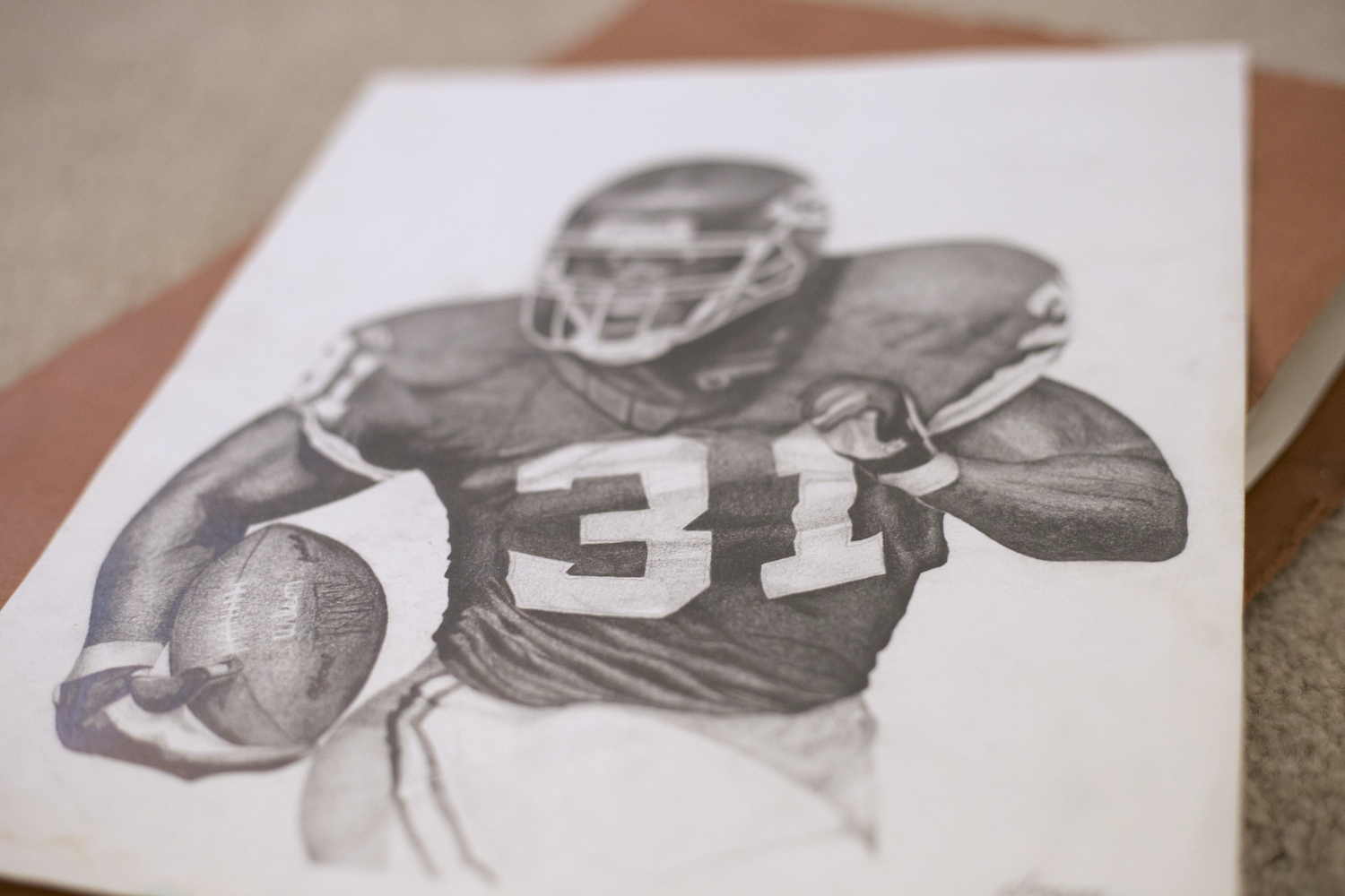 local-sketch-artist-for-hire-priest-holmes-drawn-portrait-for-sale-HOF-artist-for-nfl-players-custom-pencil-drawing-portraits-for-sale